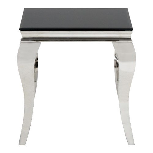 Morris Home Furnishings Tuxedo End Table with Black Glass Top