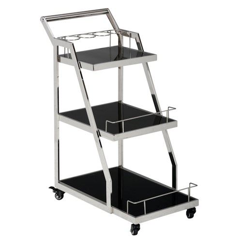 Jofran Tuxedo Drink Cart with Black Glass Shelves