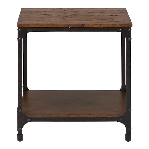 Jofran Urban Nature Square End Table with Steel and Pine Construction