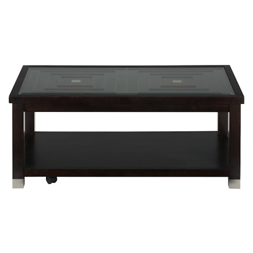 Jofran Warren Rectangle Cocktail Table with Glass Top and Casters