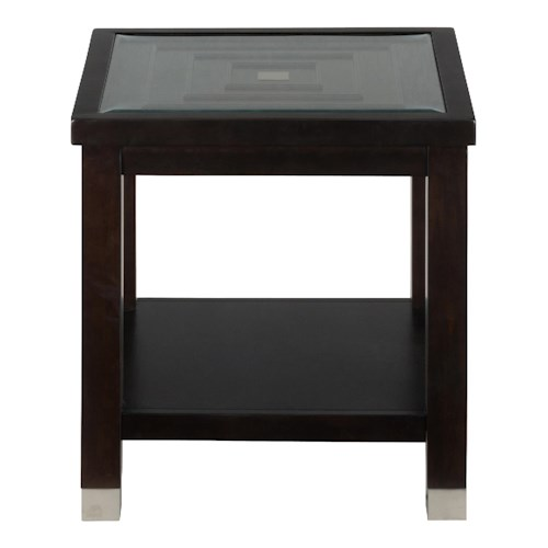 Jofran Warren End Table with Glass Top