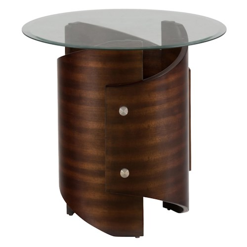Jofran Waterville Walnut Glass Top End Table with Stainless Steel Accents