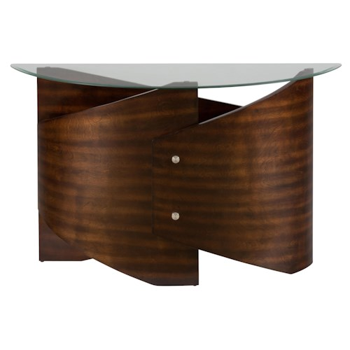 Jofran Waterville Walnut Glass Top Sofa Table with Demi-Lune Shape
