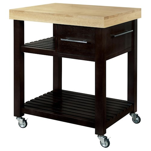 John Thomas Dining Essentials 1-Drawer 2-Shelf Kitchen Cart