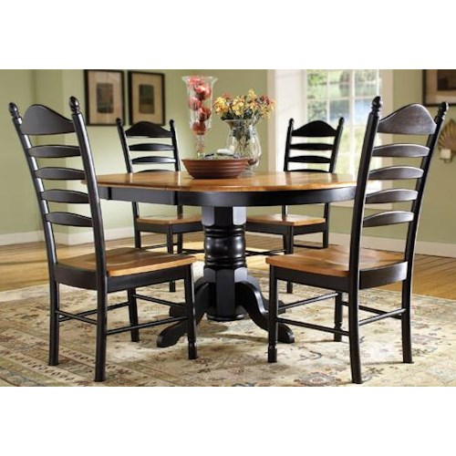 John Thomas Madison Park 5-Piece Oval Pedestal Table with Butterfly Leaf & Ladderback Chair Set