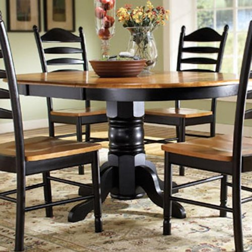 John Thomas Madison Park Oval Single Pedestal Table with Butterfly Leaf