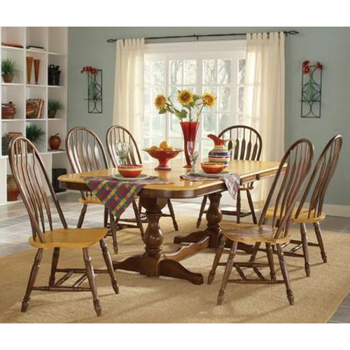 John Thomas Madison Park 7-Piece Double Pedestal Table with Butterfly Leaf & Windor Side Chair Set