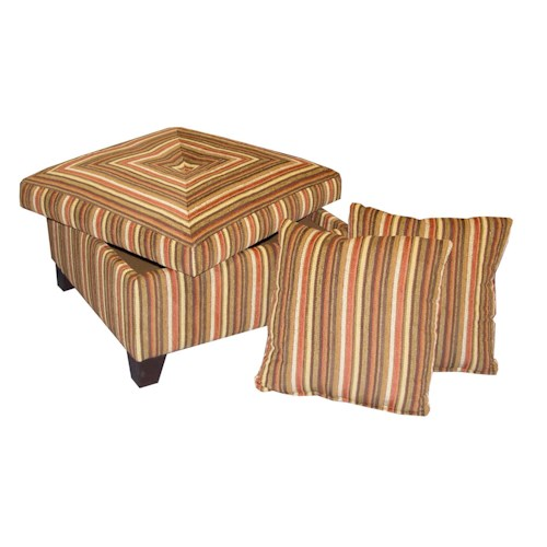 Jonathan Louis 0601 Casual Storage Ottoman with Exposed Wood Block Feet