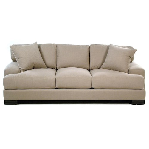 Cisco Lindy  Modern Sofa with Low Track Arms and Exposed Wood Feet