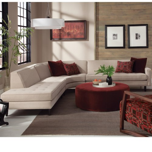 Jonathan Louis Trenton Contemporary Sectional with Chaise and Tapered Legs