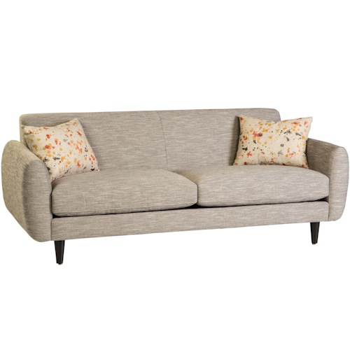 Jonathan Louis 260 Collection Contemporary Sofa with Tapered Feet and 2 Throw Pillows