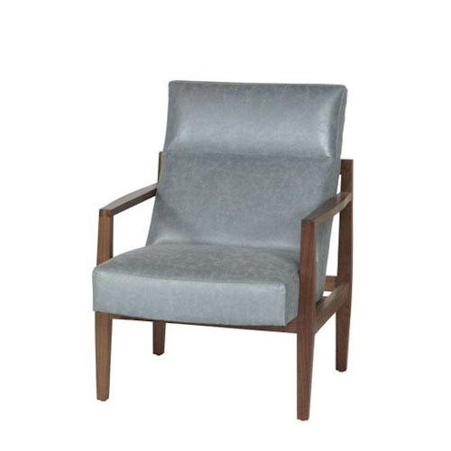 Jonathan Louis Abby Bonded Leather Accent Chair with Exposed Wood Frame