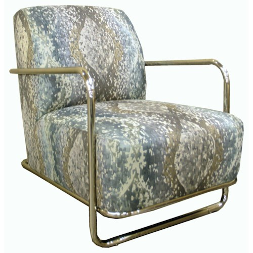 Jonathan Louis Accentuates Modern Accent Chair with Brushed Nickel Frame