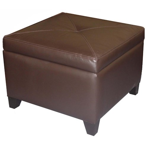 Cisco Accentuates Miles Leather Square Storage Ottoman with Center Button-Tufting