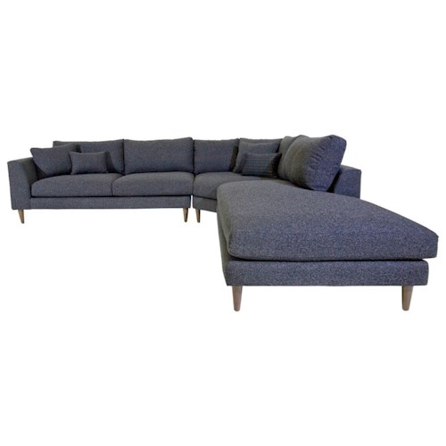 Jonathan Louis Anton Three Piece Contemporary Sectional Sofa with RAF Chaise