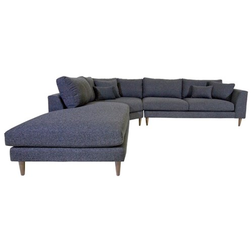 Jonathan Louis Anton Three Piece Contemporary Sectional Sofa with LAF Chaise