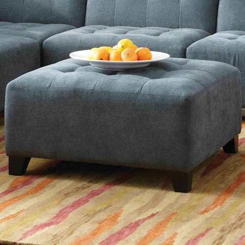 Jonathan Louis Belaire Contemporary Ottoman with Tufting