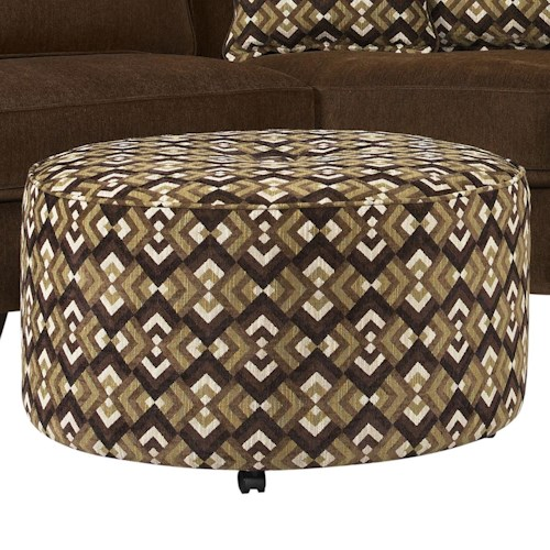 Jonathan Louis Benjamin Round Cocktail Ottoman  with Casters