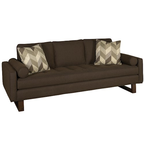 Jonathan Louis Bennett Low Track Arm Tufted Seat Sofa with Exposed Wood Legs