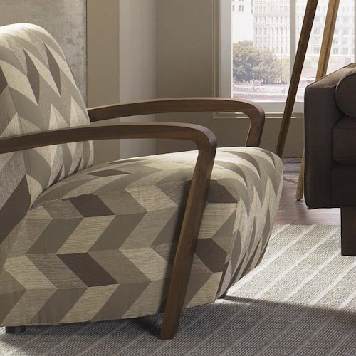 Jonathan Louis Bennett Contemporary Angled Seat Accent Chair with Exposed Wood Arms