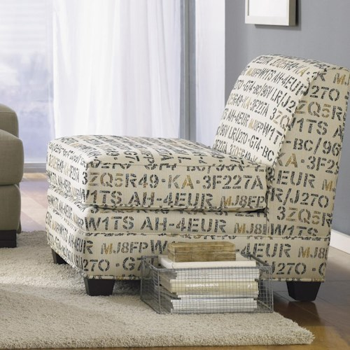Jonathan Louis Burton  Contemporary Upholstered Armless Chair with Wood Legs