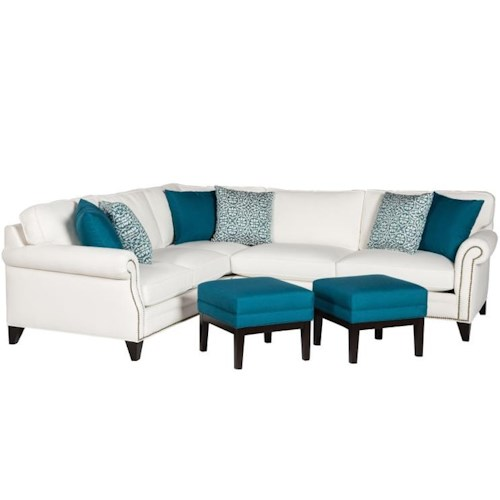 Jonathan Louis Caitlyn Traditional Sectional With Tapered Legs and Throw Pillows
