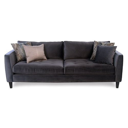Cisco Mercury  Modern Estate Sofa with Tufted Seat and Toss Pillows