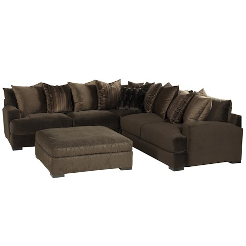 Jonathan Louis Carlin Contemporary Sofa Sectional Group with Loose Back Pillows