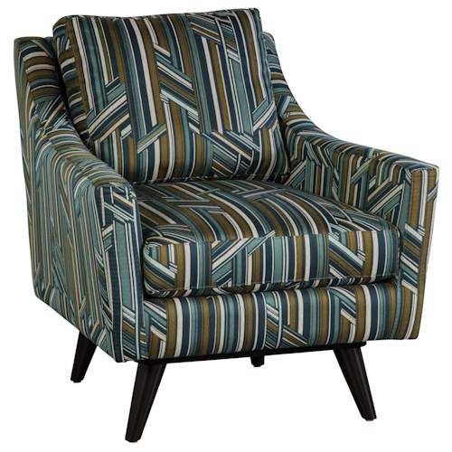 Jonathan Louis Carrie Mid-Century Modern Accent Swivel Chair with Splayed Legs