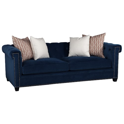 Jonathan Louis Charlize Stationary Chesterfield Sofa with Button Tufting and Nail Head