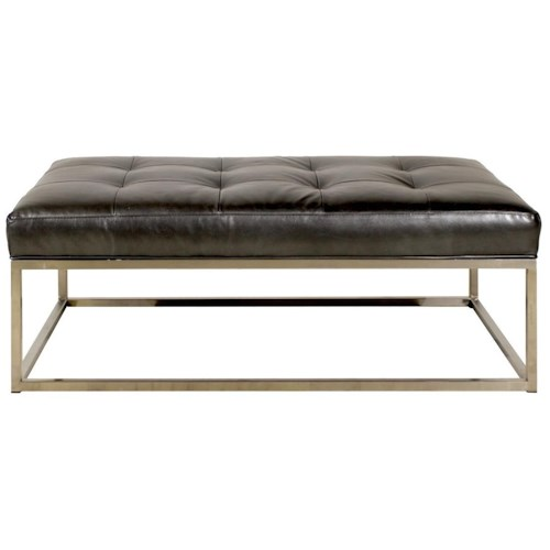 Jonathan Louis Copley Rectangular Ottoman with Metal Base and Leather Cushion