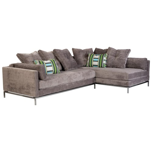 Cisco Cordoba Contemporary Sectional Sofa with Metal Base