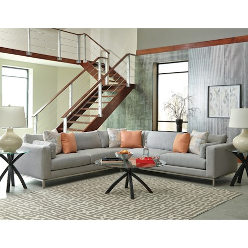 Jonathan Louis Ellis Contemporary Sectional Sofa with Metal Base