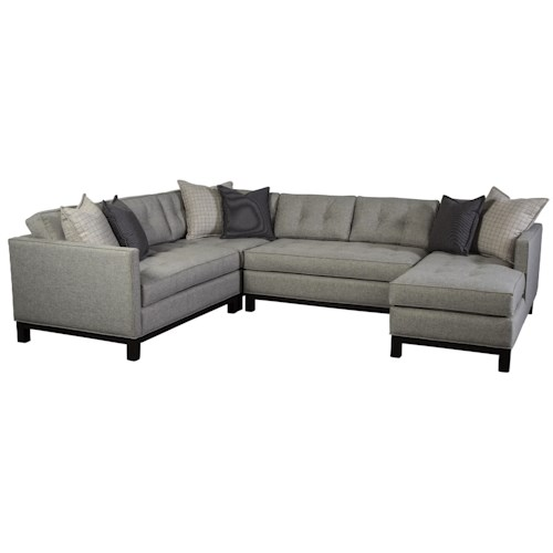 Cisco Goodwyn Contemporary Sectional Sofa with Tufted Seat Backs