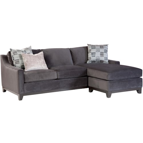 Cisco Janet Contemporary Sofa with Chaise and Scooped Track Arms