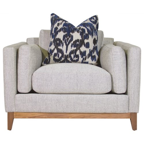 Jonathan Louis Kelsey Modern Arm Chair with Bolster Arm Pillows and Exposed Wood Base Rail