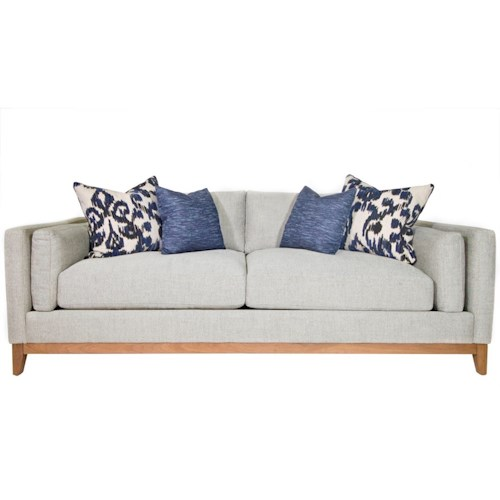 Jonathan Louis Kelsey Modern Estate Sofa with Bolster Arm Pillows and Exposed Wood Base Rail