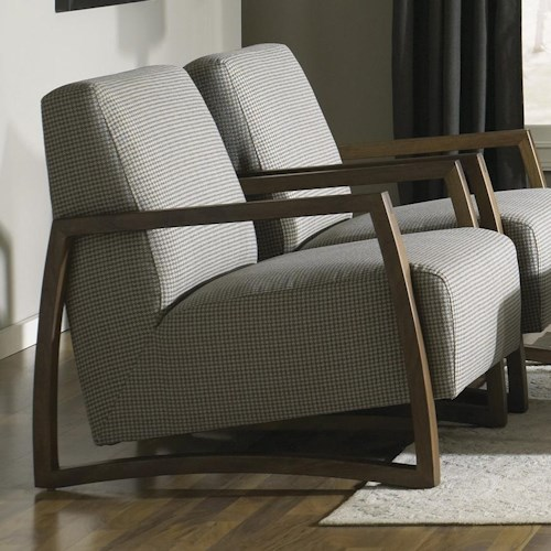Jonathan Louis Mansfield Exposed Wood Accent Chair in Lounge Chair Style