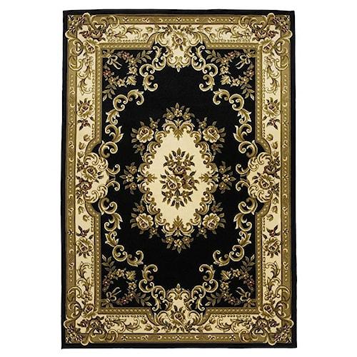 Kas Corinne 7.9 x 11 Area Rug : Black/Ivory