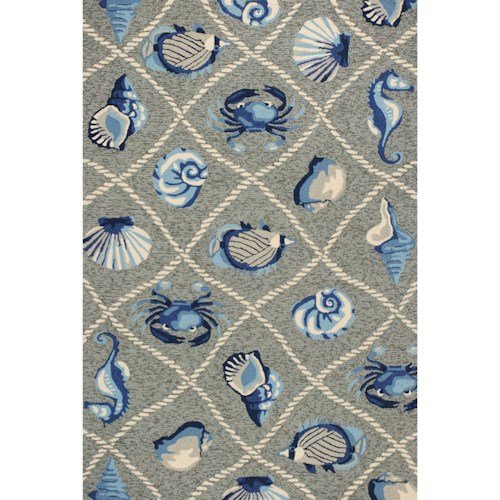 Kas Harbor 2' X 3' Grey Seaside Area Rug