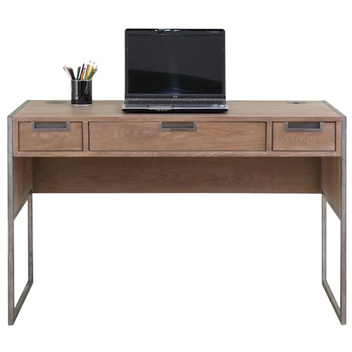 kathy ireland Home by Martin Belmont Laptop/Writing Desk with 3 Drawers and Rustic Steel Frame