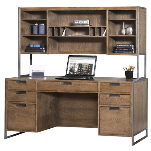 kathy ireland Home by Martin Belmont Rustic 7 Drawer Desk with 5 Shelf Hutch