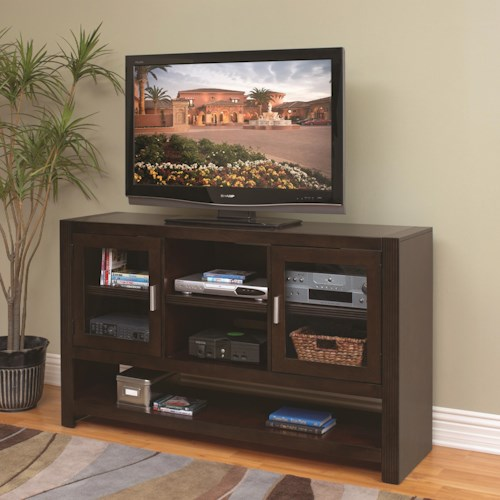 kathy ireland Home by Martin Carlton 36-Inch Tall TV Console with Tempered Glass Doors and Adjustable Shelves