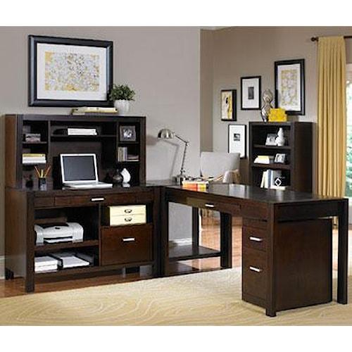 kathy ireland Home by Martin Carlton L Shape Desk with Hutch