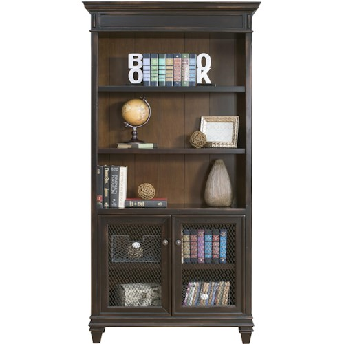kathy ireland Home by Martin Hartford Bookcase with 2 Lower Doors and 5 Shelves