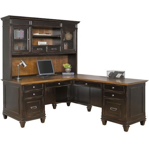 kathy ireland Home by Martin Hartford Right Hand Facing L-Shaped Desk with Hutch and 10 Drawers