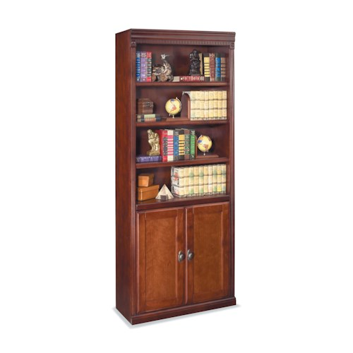 kathy ireland Home by Martin Huntington Club Traditional Bookcase with Lower Doors and Six Shelves