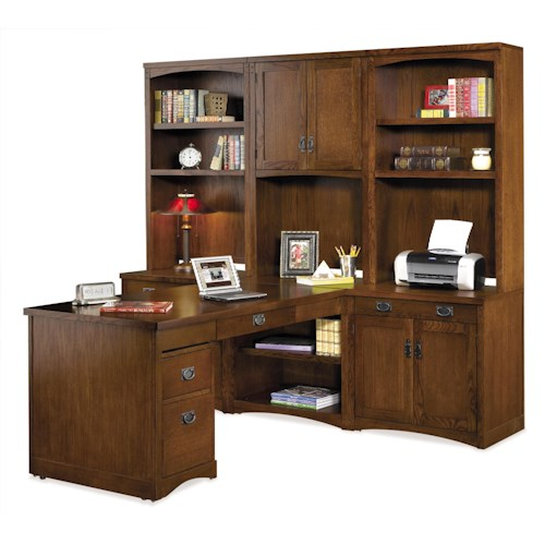 kathy ireland Home by Martin Mission Pasadena L-Shaped Office Wall Unit with Peninsula Desk