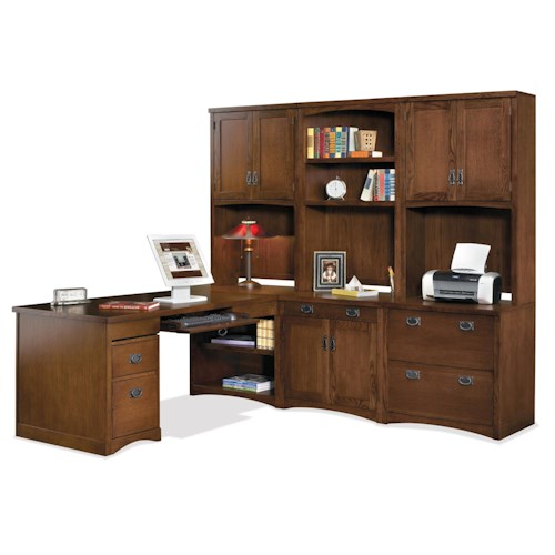 kathy ireland Home by Martin Mission Pasadena Mission Peninsula Desk and Computer Ready Wall Unit