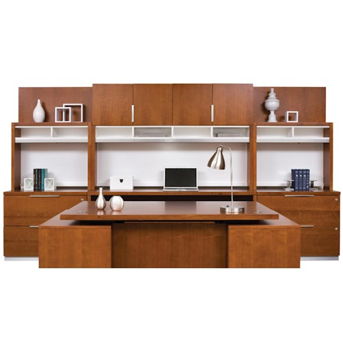 kathy ireland Home by Martin Monterey Large Contemporary Office Wall Unit